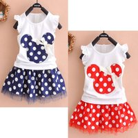 Wholesale Cheap Tutu Tops - Cheap Kids Baby Girls Minnie Mouse Party Dress Vest Skirt Toddler Clothing Polka Dot Lace Dress Sets Top Tank T-shirt+Pettiskirt ZJ-A03