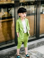 Wholesale Men Suit Color Chart - Fashion cool summer short style boy leisure suit birthday party pure color man fashion simple suit two-piece (coat + pants)