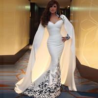 arabic ladies elbiseler toptan satış-2016 Beyaz Mermaid Sevgiliye Arapça Gelinlik Modelleri Uzun Tafta Bayanlar Parti Abiye Kılıf Moda Seksi Referans Görüntü Mükemmel Balo Elbise