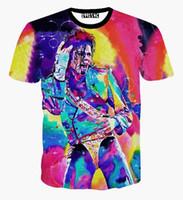 Wholesale Funny Tie - camiseta harajuku tie dye top women men summer funny t shirts rock super star Michael Jackson 3d t shirt summer casual tee shirt