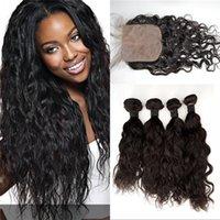 fermeture de cheveux vierge européenne achat en gros de-Vague européenne de cheveux humains 4 faisceaux avec fermeture de haute qualité européenne Virgin Hair 3 partie fermeture de soie avec des trames G-EASY