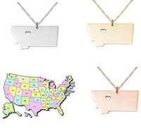 Wholesale Wholesale Custom Necklaces - Rose Gold Montana State map necklace Charm Neckalce MT State pendant Necklaces,State Shaped Custom Necklace jewelry With A Heart