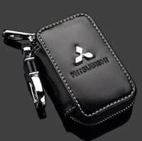 Wholesale Key Chain Car Remote - Mitsubishi Key Case Premium Leather Car Key Chains Holder Zipper Remote Wallet Bag for Mitsubishi key cover accessories Key Bag