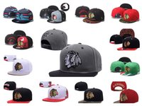 Wholesale Hat Strap - 2016 Hotsale Men's Chicago Blackhawks Snapback Hats Team Logo Embroidery Sports Adjustable Hockey Caps Vintage Leather Visor Strap back Hat