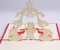origami 3d pop up presente venda por atacado-10 pcs Anjo Handmade Kirigami Origami 3D Pop Up Cartões de Convite Cartão Para O Aniversário de Festa de Natal presente