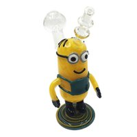 "Wholesale Despicable Glasses - ""Despicable Me"" Standing Minions Yellow Uncle Glass Hand Pipe Cigarette Glass Spoon Pipe Exellent Hand-made Dry Herb Bubbler"