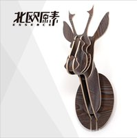 Wholesale Wooden Animals Heads - Creative home decorations,3D wooden deer elk moose head wall hanging ornament,personalized animal,Nordic style garden furniture