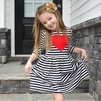 Wholesale Love Lace Dress - 2017 New Girl Autumn Dresses Children Striped Love Heart Half Sleeve Princess Party Dress Kids Clothes Free Shipping