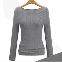 Wholesale pink cashmere sweater women - Autumn Winter Sweaters Woman Knitted Luxury Slim Pullover Sweater Tops With Long Sleeve Slash Neck Casual Women Cashmere Sweaters Clothing
