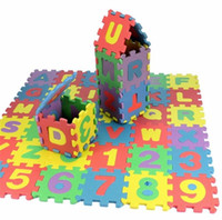 Wholesale Eva Alphabet Puzzle Mats - Wholesale-children mini EVA Foam Alphabet Letters Numbers Floor Soft Baby Mat 3d puzzle Kids Educational toys 36 pcs
