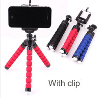 Wholesale Compact Camera Tripods - Flexible Mini Tripod 360 Rotating Mount Stand Universal Phone Holder Tripods with Clip Compact for iPhone Samsung GPS Camera&Smartphone