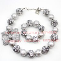 Wholesale Wholesale Acrylic Chunky Beads - fashion jewelry silver bowknot pendant big wrinklel&rhinestone beads chunky girl bubblegum kids Necklace&bracelet set