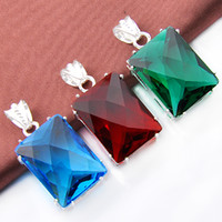 Mix 3PCS Atacado Wedding Gift Classic Fire Red Green Quartz Blue Topaz 925 Sterling Silver Pingentes para colares Party Holiday Gift