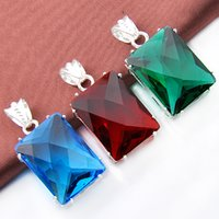 Wholesale Mix Pendant Sterling Silver - Mix 3PCS Wholesale Wedding Gift Classic Fire Red Green Quartz Blue Topaz 925 Sterling Silver Pendants for Necklaces Party Holiday Gift