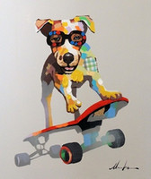Wholesale Canvas Dog Art - Framed High Quality Dog On Skateboard Cool Terrier,Pure Handpainted Animal Wall Art Oil Painting on Canvas Home Wall Decor Multi sizes Jn072