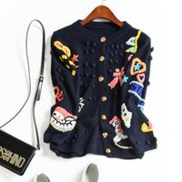 Wholesale Color Institute - Europe and the United States women's new autumn 2017 Cartoon the manual hook is colored institute wind restoring ancient ways sweater coat