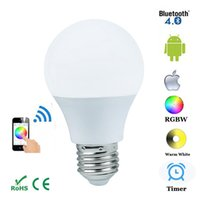 E27 4.5W Bluetooth 4.0 Smart IOS Android App Control Lamp Wireless LED bombilla Color Cambio regulable para Home Hotel