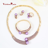 Wholesale Beautiful Fashion Dresses For Women - WesternRain Latest Beautiful Gold Costume Jewelry Set Accessories for Women Dress,18K Gold Plated Party purple Pearl Fashion Jewelry A097