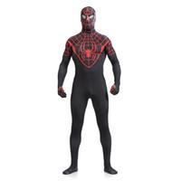 Wholesale Spiderman Adult - Halloween Mens Adult Childrens Boy Halloween Black Spiderman Cosplay Costumes Lycra Zentai SuperHero Sexy Costume Full Body Suit