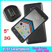 D201 MTK6572 Dual Core 5 Zoll 3G Unlocked Mobiltelefone Android 4.4 Smartphones 512MB 4GB Dual SIM Kameras Smart Wake-up Retail Paket