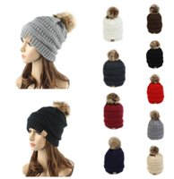 Wholesale Label For Cable - CC Label Trendy Hats Winter Knitted Beanie Cable Slouchy Fur Poms Skull Caps Beanie Outdoor Hats for Women Men