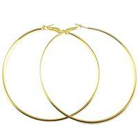 büyük altın çember küpeler 18k toptan satış-2016 Yeni Altın 925 ayar gümüş Büyük Hoop Küpe Kadınlar için Basketbol Brincos Gümüş Büyük Daire Parti Küpe