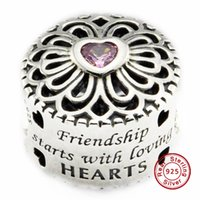Wholesale Zodiac Friendship Bracelet - 2016 Love & Friendship Charm with Pink CZ 100% 925 Sterling Silver Beads Fit Pandora Charms Bracelet Authentic DIY Fashion Jewelry