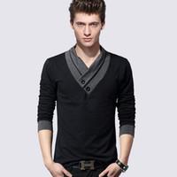Wholesale Europe Retail - 2017 Europe and America Retail Mens T Shirt Slim Fit Crew Neck T-shirt Men Long sleeve Shirt Casual tshirt Tee Tops Mens Short Shirt Size M-