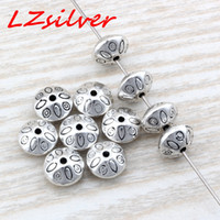 Découvertes De Bijoux En Zinc Pas Cher-MIC 100pcs Antique Silver Zinc Alloy Round Saucer Bicone sculpter Spacer Bead Findings 6x9mm DIY Jewelry D20