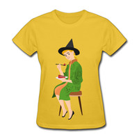 Wholesale Sexy Womens Tshirts - Yellow tone tee shirt novelty cartoon boy printed womens short tshirts campus trendy girl slim waist sexy T-shirt Halloween style