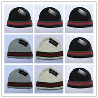 Wholesale Plastic Cap Design - Good Selling Autumn Winter Unisex wool hats fashion casual brand skullies & Beanies For Men and women Striped design Free Shipping