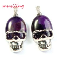 Wholesale Rhinestone Skull Beads Wholesale - musiling Jewelry Natural Gem Stone Skull Pendants Necklace Chain Pendulum Mens Jewelry Oval Bead Accessories Silver Plated Fashion Jewelry