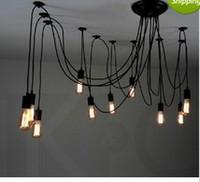 lámparas colgantes de iluminación al por mayor-14 bombillas de luz flexible Edison Ancints Vintage Chandeliers DIY Lámpara colgante de techo Tiannvsanhua araña de hierro forjado