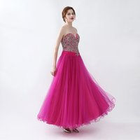 Wholesale wedding dress crystal beading designs - Sweetheart Neck Prom Dresses A Line Sleeveless with Crystals Formal Evening Gowns Tulle Floor Length Lace Up Design