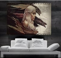 Wholesale Posters Games - Game of thrones Daenerys Targaryen mother of dragons Poster Poster print wall art 8 parts giant huge Poster print art free shipping NO 8-9