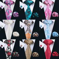 flores de lazo para los hombres al por mayor-Patrón de flores Conjunto de corbata para corbata Cuadrado de seda clásico Gemelos Jacquard Tejido Corbata al por mayor Conjunto de corbata para hombre