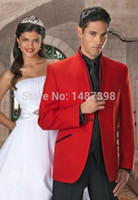 Wholesale Tuxedo Besom Pockets - Wholesale-2016 red Men Suits prom single breasted top collar with trim Tuxedo slanted besom pockets Man bridegroom Wedding business Suit
