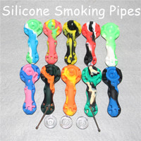 Wholesale Wholesale Colored Dishes - Newest 10 Colors 4.1inches Oil Burner Pipe With Glass Dishes Cheap Colored Silicone Smoking Pipe Oil Burner Smoking Pipes Hand Pipe DHL