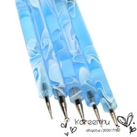 Wholesale Acrylic Brushes Sable - Wholesale 5pcs Dotting Painting Brush Pen Tool Sable Dual Ball 2 Way Acrylic UV Gel Nail Art Design Set Blue Color