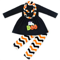 Wholesale Ghost Dresses - Halloween clothe costumes Kid Pumpkin Ghost Outfits Dress Top + wave pant+ scarf Three-piece set 2017 New