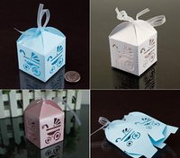 Wholesale Cut Gift Box - 100pcs lot Laser Cut Baby Day Out Candy Box Birthday Gift Box Baby Shower Favors Wedding Party Gift Box Wedding Boxes with Ribbon 3 Colors