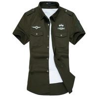 ropa de vestir de los hombres al por mayor-Al por mayor-Nueva camisa de los hombres del verano de algodón de alta calidad de manga corta camisetas camisa de vestir del ejército para hombre camisas ropa informal masculina M-6XL
