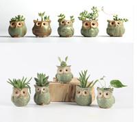 Wholesale Ceramic Flowerpots - Cartoon Owl -Shaped Flower Pot For Succulents Fleshy Plants Flowerpot 5pcs  Set Ceramic Small Mini Home  Garden  Office Decor 1603