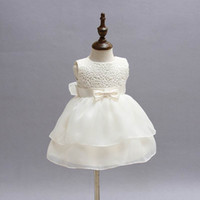 Wholesale Embroidered Cotton Baby Gown - Retail Newborn Baby Girls Princess Birthday Party White Formal Christening Gown Dress with Bow Dresses for 0-24 Months 2089