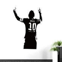 Wholesale wall stickers for boys - 2015 Free shipping Sports footballer wall stickers kids boys the year Lionel Messi after scoring of cheering room wall decor