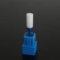 Wholesale Nail Drill Bit Sizes - 1 x M Size Ceramic Flame Nail Bit White Grinding Head Pro Electric Nail Drill Manicure Machine Files Nail Art Tools