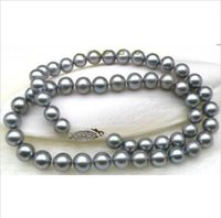 """Wholesale 11mm Circle - VERY SURPRISING 10-11MM SOUTH SEA GRAY PEARL NECKLACE 18"""" 14k WHITE GOLD"""