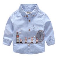Wholesale Korea Cartoon Shirt - Everweekend Boys Printed Cartoon Shirts Tees Autumn Spring Western Fashion Clothing Vintage Korea Baby Blouse