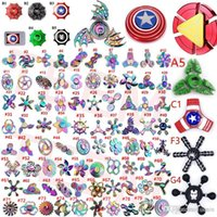 Wholesale fidget spinner - 2017 new types Fidget spinner toys Tri Fidget Metal Colorful EDC Gyro Superhero Dragon Rainbow hand spinners finger toy
