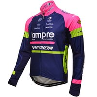 Wholesale Merida Pro Team Cycling Jersey - WINTER FLEECE THERMAL ONLY CYCLING JACKETS CLOTHING LONG JERSEY ROPA CICLISMO 2016 LAMPRE MERIDA PRO TEAM BLUE L03 SIZE:XS-4XL